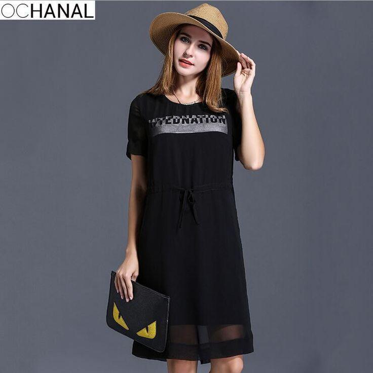 Black chiffon dress for female New Summer letter print short-sleeve loose dresses women clothing