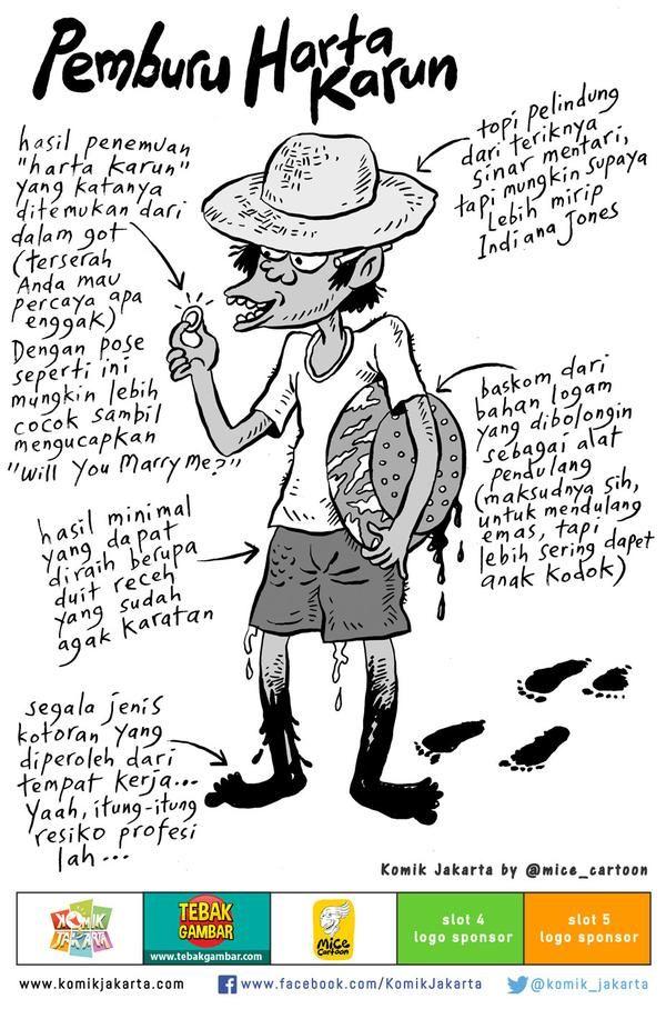 Profesi Hampir Punah: Pemburu Harta Karun by @mice_cartoon dari 100 Tokoh Mewarnai Jakarta (2008) #KomikJakarta
