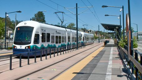 Central Link light rail travels between Westlake Station in downtown Seattle and Sea-Tac Airport, making 11 stops along the way.  Adult fares range from $2.00 to $2.75 depending on how far you travel.