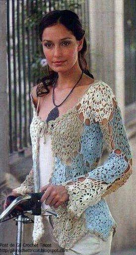 GIL CROCHET TRICOT: Ideias preciosas!! Casaco de crochet
