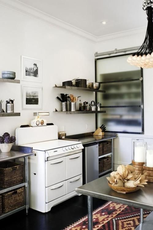 open shelving: Vintage Stove, Kitchens Design, Industrial Kitchens, Interiors, Small Kitchens, Design Kitchens, Rugs, San Francisco, Stainless Steel
