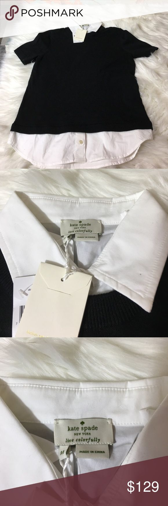"""Kate Spade Shirttail Sweater Brand new Kate Spade Blaze A Trail Shirttail Sweater in Size Medium. A crisp collar and shirttails peek out from under this short-sleeved sweater, for a bulk-free layered look. just add leggings, wide-cut pants or a full midi skirt and you are pretty much ready for work.  58% cotton 22% viscose 20% polyamide / trim: 97% cotton 3% elastaneshort sleevescollar standshirt tail hem adds 1"""" in the back. Measurements: 26"""" long from highest shoulder point. kate spade…"""