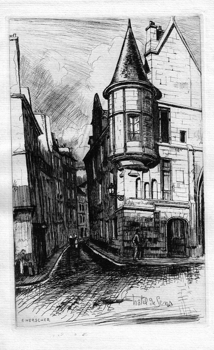 Hôtel de Sens - Paris - De l'angle des rues de l'Ave-Maria et du Fauconnier (1910)