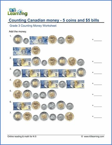 Grade 3 Counting money Worksheet on counting Canadian money: the 5 coins and $5 bills