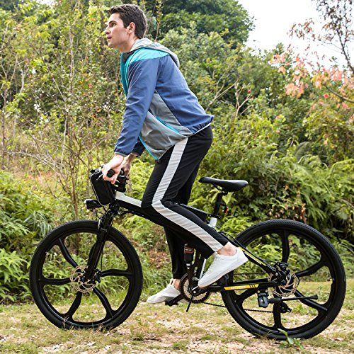 Folding Electric Mountain Bike with 26″ Large Capacity Lithium-Ion Battery (36V 250W), Electric Bike with Super Lightweight Magnesium Alloy 6 Spokes Integrated Wheel and Shimano Gear (White&Blue-1)