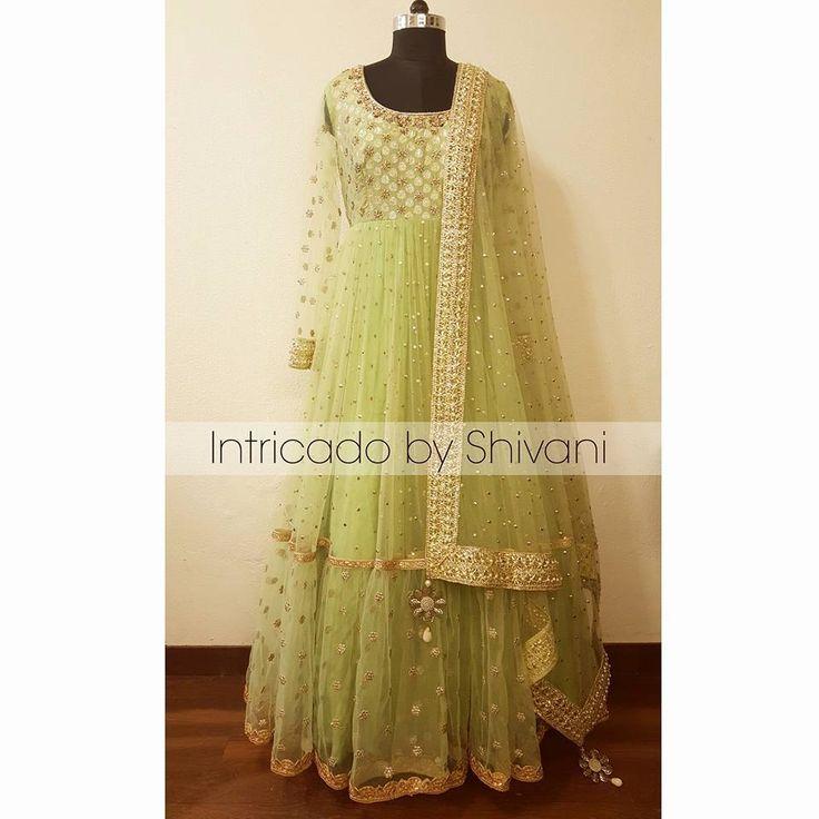 Mukaish, kundan and dabka embroidered floor length anarkali in pistachio green. To order/enquiry, email at shivani@intricado.com or Inbox on Facebook page www.facebook.com/intricado  #anarkali #floorlength #designeranarkali #sequins #gold #zardozi #indianembroidery #indiancouture #ethniccouture #indianfashion #embroidery #handwork #indianbridal #lehenga #bridallehenga #indianwear #engagementlehenga #designerlehenga #indiandesigner #indianbride #indianwedding #wedmegood #greenlehenga…