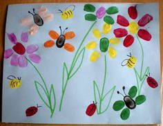 Fingerprint Flowers, Bees, Butterflies & Ladybugs...could put this on a table, serving tray, etc. (one flower on a white tile and then place tiles together on something)