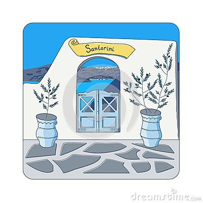 Blue gate in the wall and olive trees in the pots at Santorini island in Greece vector illustration