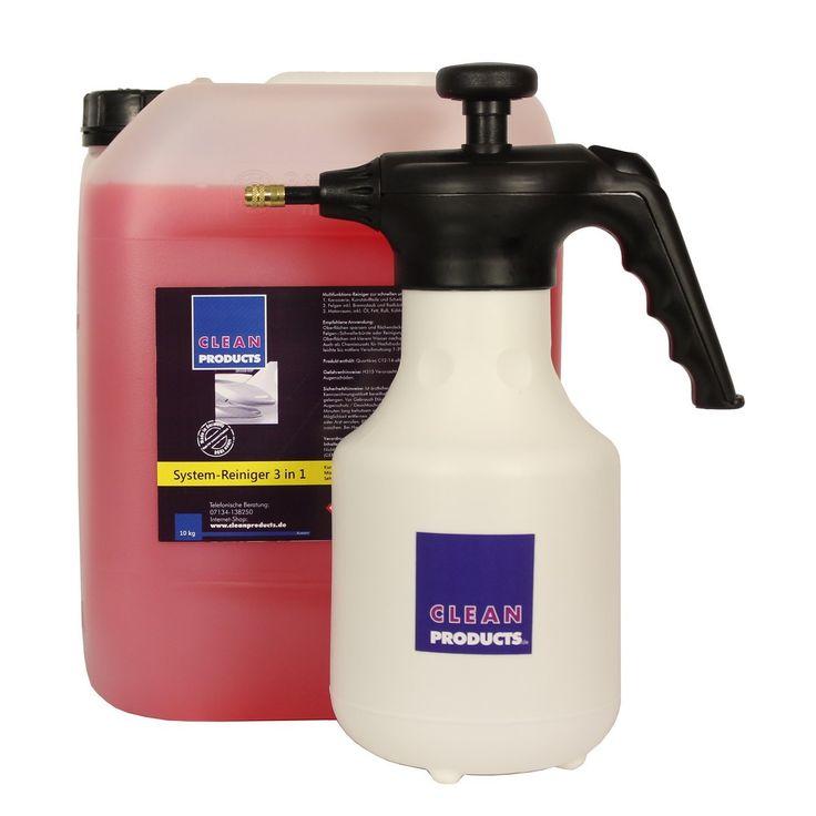 CLEANPRODUCTS Set Fahrzeug-Außen-Reiniger 3 in 1 (10 kg Konzentrat) + Pumpsprühflasche Profi A 1,4 Liter (Metalldüse verstellbar)  Das moderne Autoshampoo: Shampoo, Insektenentferner / Insektenreiniger, Felgenreiniger und Motorraumreiniger in einem Produkt. 3 in 1 System-Reinigungsmittel für die Fahrzeugreinigung und Fahrzeugpflege. Ideal für die Autoaufbereitung bzw. Fahrzeugaufbereitung.