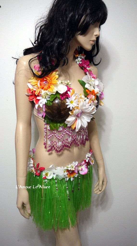 Hula Girl Costume Tropical Bra Flower Bra by LamourLeAllure