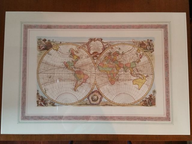 """1993 Verkerke Gallery Edition Lithoprint of """"ALL THE KNOWN WORLD""""by Emanuel Bowen"""