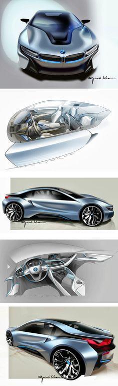 BMW i8-Great supercar design sketches & 3DBMW i8-Great supercar design sketches & 3D