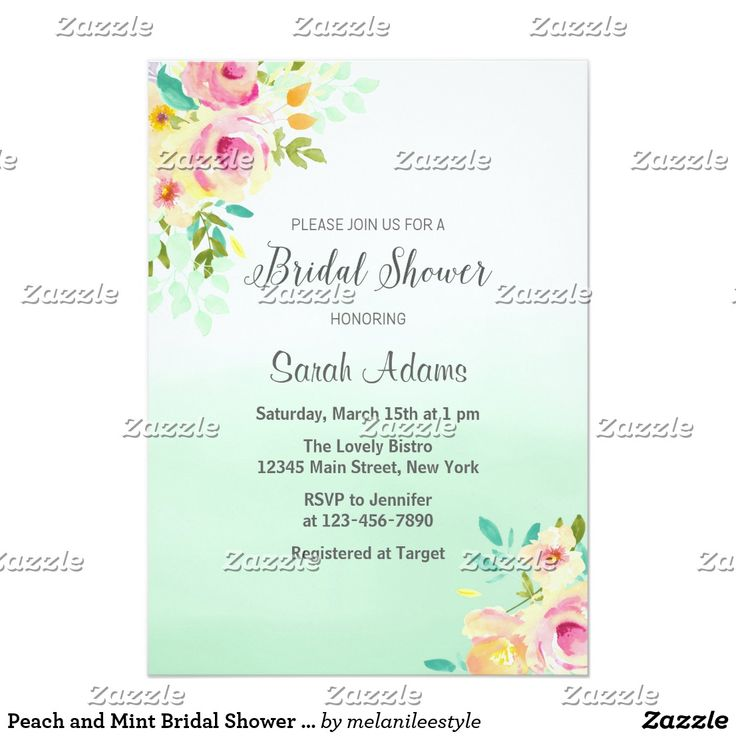 Peach and Mint Bridal Shower Invitation Bridal shower invitation with peach floral design and ombre mint green background.