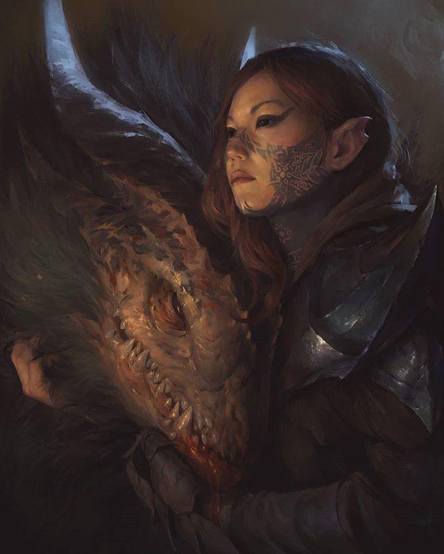 """Demon and girl""  created  by  Vyacheslav Safronov #art #art_series #digitalart #арт #девушка #демон #рисунок #рисовать #иллюстрация #тату #творчески #броня #рыжая #черные #глаза #рога #horns #fantasy #fantasyart #painting #illustration  #creature #demon #girl  #tatoo #armor #beautiful #readhead #VyacheslavSafronov"