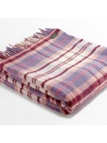 Pure New Wool Throw Plum Check