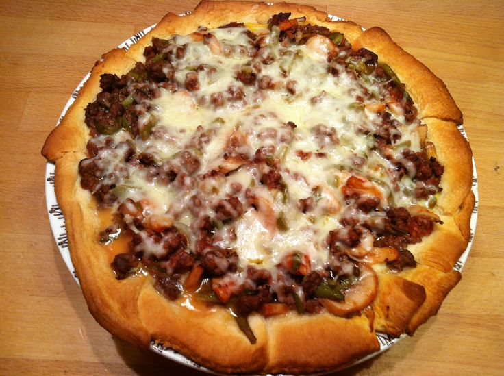 Beef and Cheese Crescent Pie