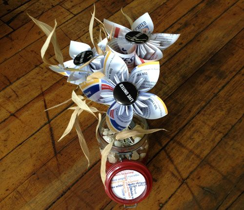 Here are the gorgeous paper flower centerpieces that were on each table during our Annual Celebration. Thank you to @Knack: The Art of Clever Reuse for giving outdated UWPV campaign materials a gorgeous new life! www.uwpv.org #uwpv #ac2014 #knack #reuse #creativereuse