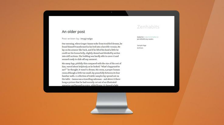 2012: This theme is an adaptation of the original Zenhabits theme, which the site owner (Leo Babauta) offers as an uncopyrighted free download. // Este tema es una actualización del tema original Zenhabits, que el dueño del sitio (Leo Babauta) le ofrece a todo el mundo como una descarga gratis sin restricción alguna.