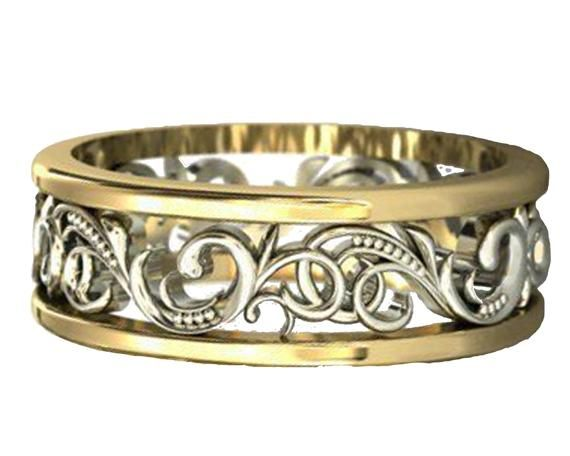 Gold Two Tone Wedding Band Celtic Band Floral Jewelry Ring