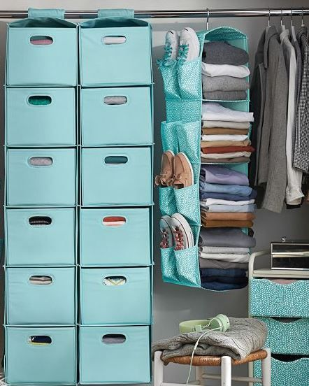 Storing and consolidating can be a bit tricky in a small college dorm. Shop awesome storage pieces like these from PBteen to make for a more organized closet!