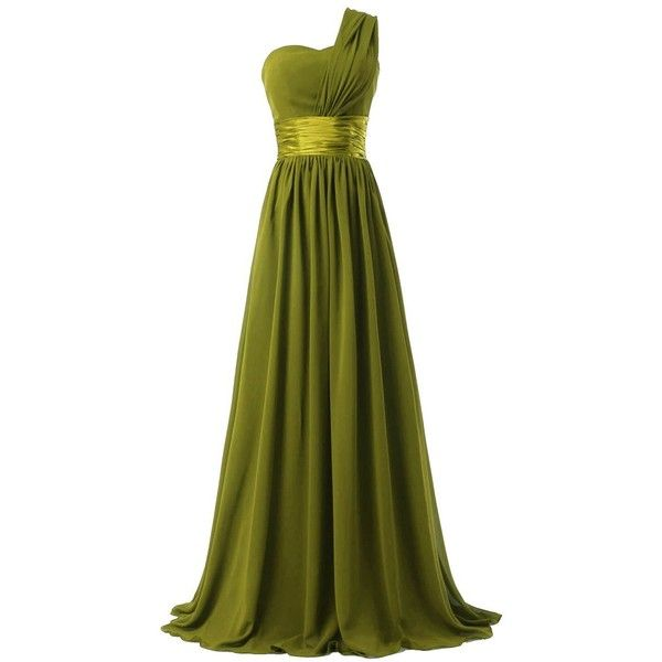 Fashion Plaza One-shoulder Chiffon Bridesmaid Formal Evening Party... (£19) ❤ liked on Polyvore featuring dresses, gown, long dresses, maxi dress, bridesmaid dresses, green bridesmaid dresses, long formal dresses and long chiffon dress