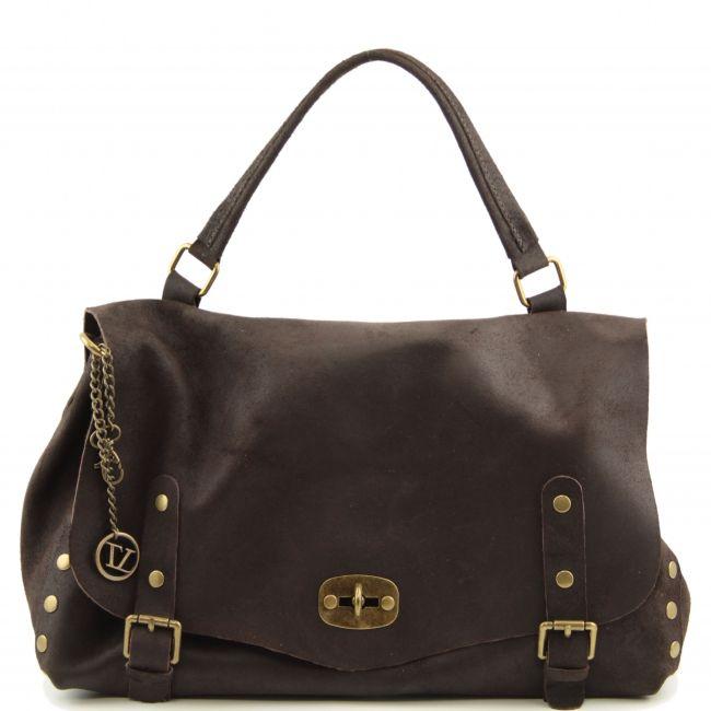 Unisex donkerbruine Italiaanse vintage leren messenger bag / schoudertas.Populaire tas voor mannen en vrouwen.De buitenkant van de aktentas is echt kalfsleer met een vintage effect.  -