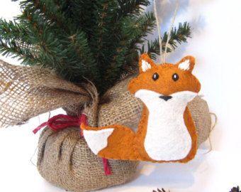 Fox Ornament, Felt Christmas Ornament, ORANGE Fox, Woodland Fox Christmas Ornament, Woodland Animal Ornament