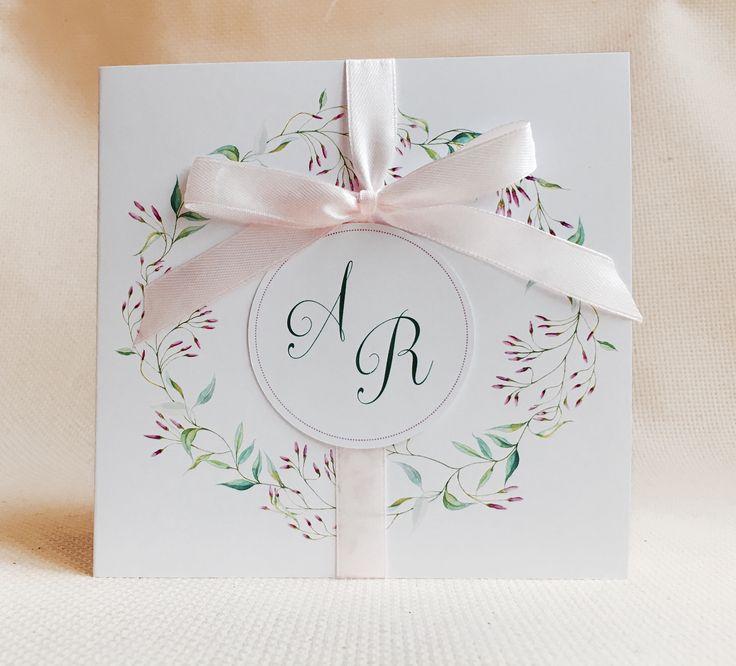 Zaproszenia z wiankiem....pączki jaśminu  #zaproszenia #slub #wesele #wianek #rustykalne #delikatne #piękne #rozowe
