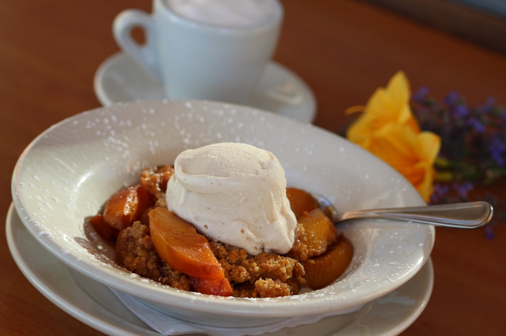 Pesca Croccante ~ Peach Crisp   Warm roasted peach slices topped with a crisp, sweet mixture of butter, flour,   sugar, spices and a cool scoop of vanilla bean gelato