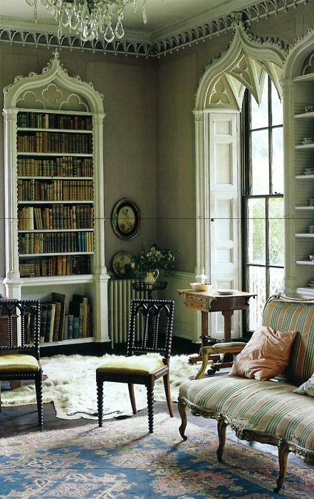 Gothic architectural accentsGothic Furniture, Future House, Interiors Libraries, Dreams House, Bookcases Shelves, World Of Interiors, Architecture Accent, Sitting Room, Gothic Architecture