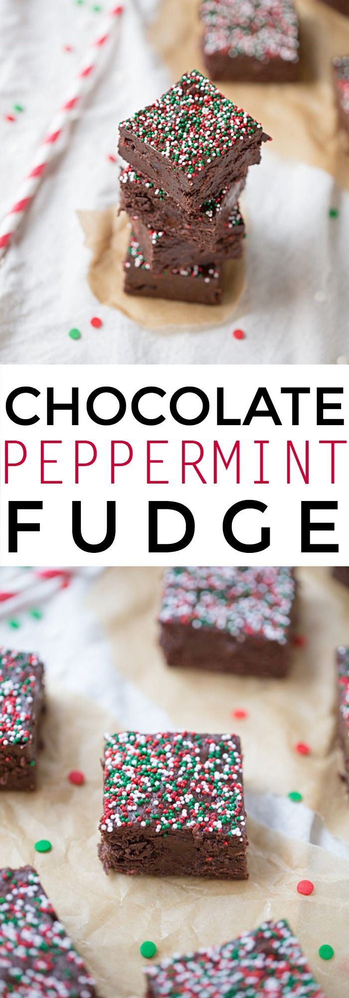 Chocolate Peppermint Fudge is a simple recipe that's perfect for Christmas! | This Gal Cooks