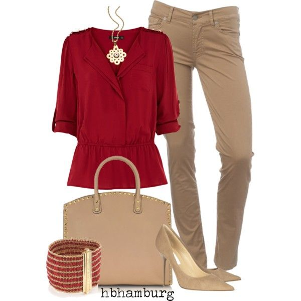 No. 176 - Beige & red by hbhamburg on Polyvore featuring Oasis, 7 For All Mankind, Jimmy Choo, Valentino, Carolina Bucci and ASHA