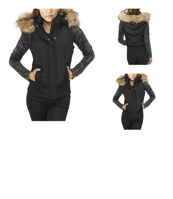 4053838056356 | #Urban #Classics #Damen #Sport #Weste #Ladies #Hooded #Fur #Vest, #Schwarz #(Black #7), #34 #(Herstellergröße: #XS)