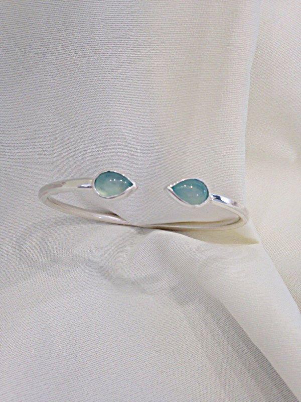 Sterling Silver Aqua Green Chalcedony Cuff Bracelet - Gemstone Jewelry by CopperfoxGemsJewelry on Etsy https://www.etsy.com/listing/240384282/sterling-silver-aqua-green-chalcedony