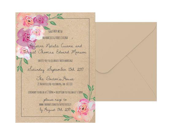 Rustic Floral Wedding Invitation Suite by pulpandponder on Etsy #rustic #rusticweddinginvitation #floral #rusticfloral #kraft #boho #bohemianwedding #bohoweddinginvitation #pinkfloral #custominvitation