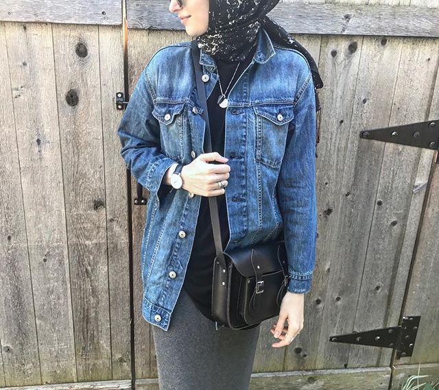 boyfriend denim jacket | hijab | Elif Dogan