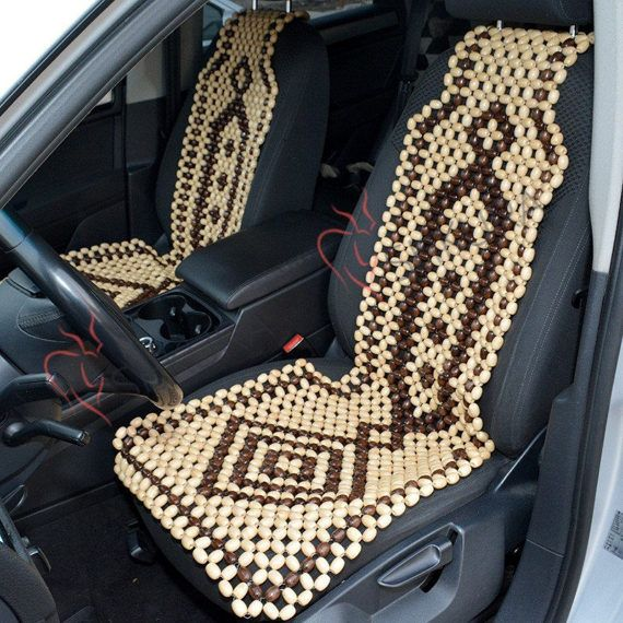 Car Seat Cover Massager Wood Cape Wooden Back Buttocks Massage Roller Beads