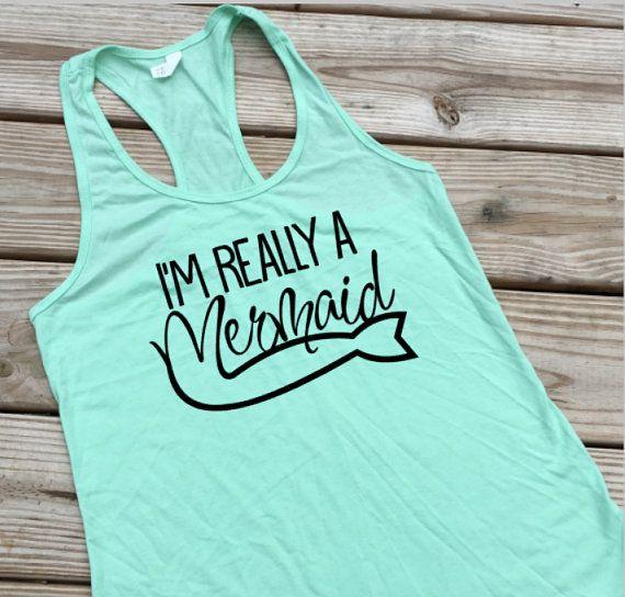 Mermaid Shirt, Beach Cover Ups, Beach Tank Top, Boating Gifts, Nautical Shirt…