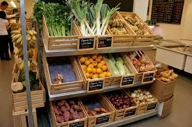 small blackboards? titled box display organic veg display - Google Search