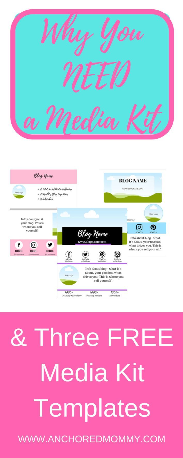 Why Bloggers Need a Media Kit + 3 Free Media Kit Templates - Anchored Mommy |media kit | media kit template | blogging tips | blogging media kit | #mediakit #mediakittemplate #bloggingtips