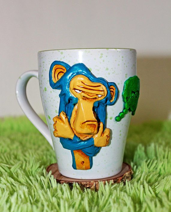 monkey morning gift mug with polymer clay decorative
