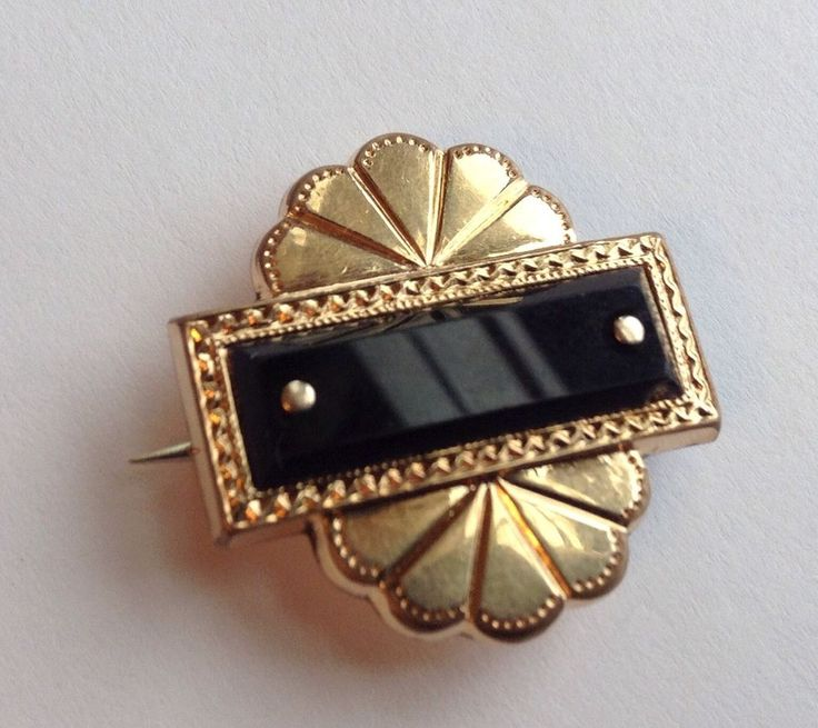 VINTAGE 19TH CENTURY VICTORIAN 14K GOLD ONYX MOURNING BROOCH #UNMARKED