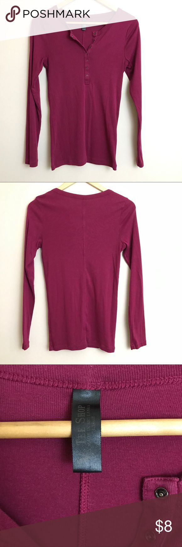 VS Tee Shop Long Sleeve Henley In good condition, soft and stretchy. Some pilling under arms but could be shaved off easily. Gunmetal tone snaps. Size Large but it fits like a medium. Victoria's Secret Tops Tees - Long Sleeve