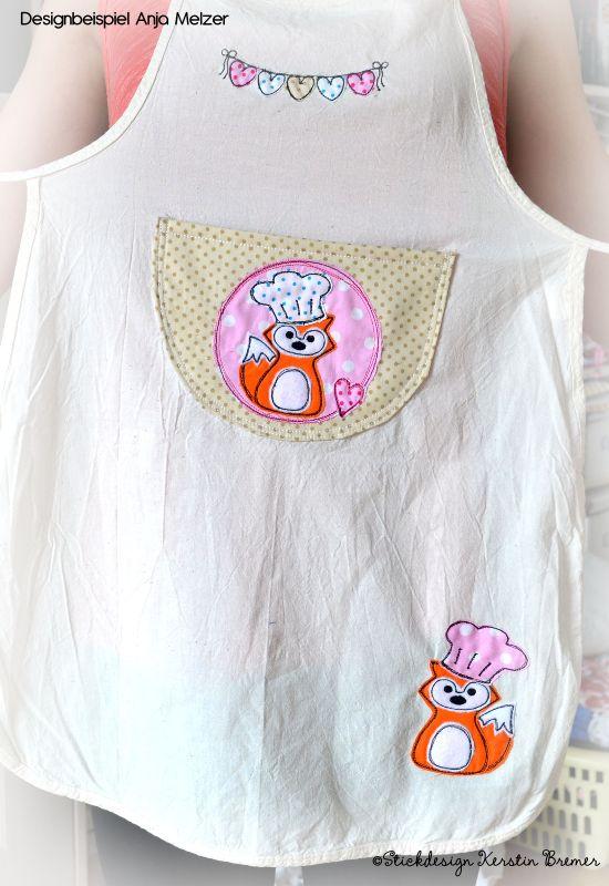 Schürze mit Koch Fuchs Doodle Stickmuster. Stickdatei von KerstinBremer.de. Designbeispiel von @emilinchen ♥  Fox appliqué embroidery file for embroidery machines.   #sticken #nähmalen