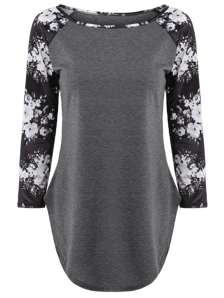 Floral Print Long Sleeve Slit T-Shirt