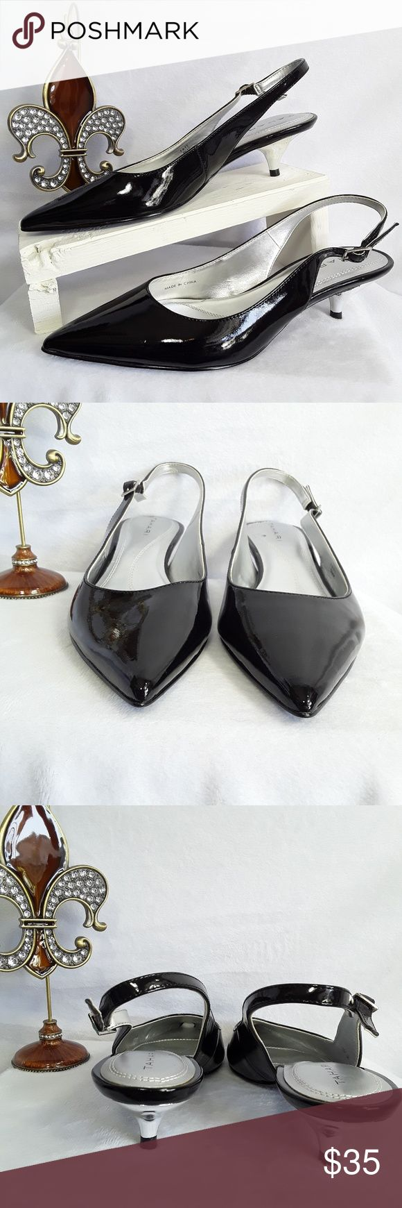 💐Tahari Faye Black Patent Leather Slingback Shoes Tahari Faye Slingback Kitten Heel Pumps Patent Black Silver Women's Size 5.5 M   Excellent Condition.  Size 5.5 M.  Pointed toe.  Silver kitten heel.  Synthetic uppers.  Manmade sole Adjustable buckle.  Please look at all pictures for condition.  Tahari Shoes Heels