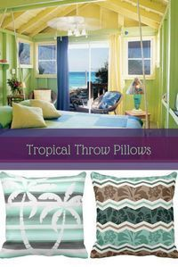 Tropical throw pillows like the ones above are super cute and trendy. In fact these are essential when it comes to tropical home decor. Especially if you are looking to create a tropical bedroom or tropical living room. Tropical throw pillows are th