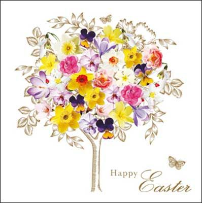 Tree with spring flowers #Easter card, finished with glitter varnish. The card is left blank inside for your own greeting.