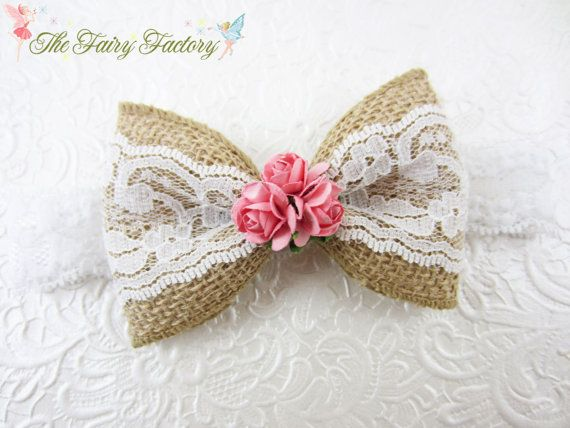 Burlap and Lace Hair Bow Beige White & Pink by TheFairyFactoryShop, $10.95