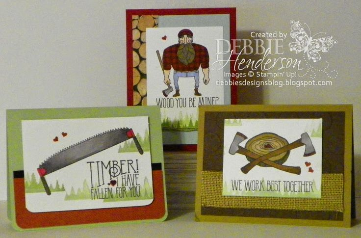 January 2015 Card Kit with 3 options using Stampin' Up! Wood You Be Mine. Debbie Henderson, Debbie's Designs.